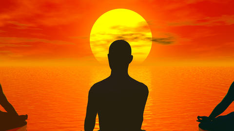 Sunset meditation - 3D render Animation