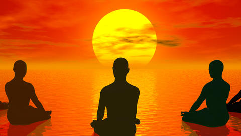 Sunset meditation - 3D render Stock Video Footage