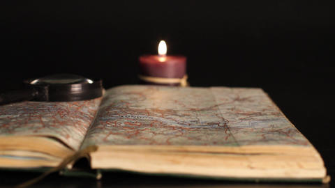 England map and candle Stock Video Footage