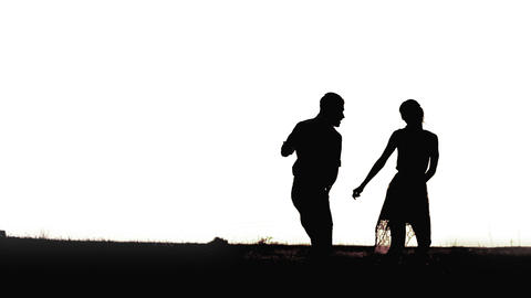 Young black couple silhouettes dancing isolated on white... Stock Video Footage