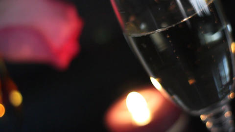 Champagne, candle and rose Stock Video Footage