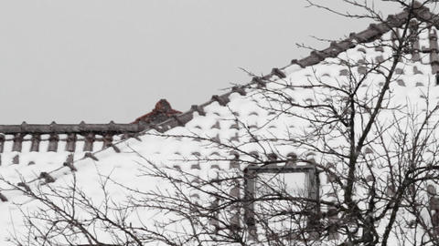 Fragment of an apartment house and snowfall Footage