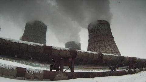 Cooling towers 3 Stock Video Footage