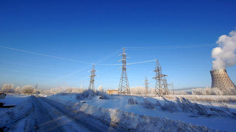 Industrial in winter Stock Video Footage