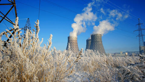 Industrial in winter Footage