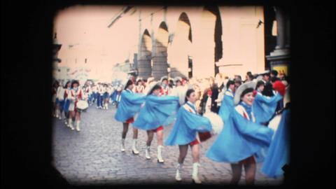 Vintage 8mm. Festive parade Footage