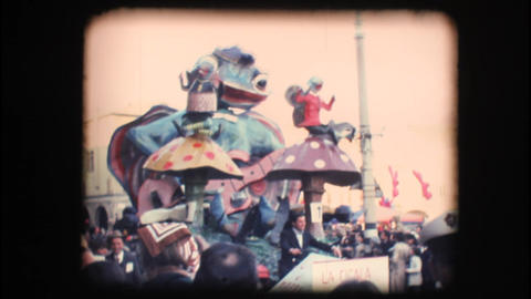 Vintage 8mm. Large parade float Stock Video Footage