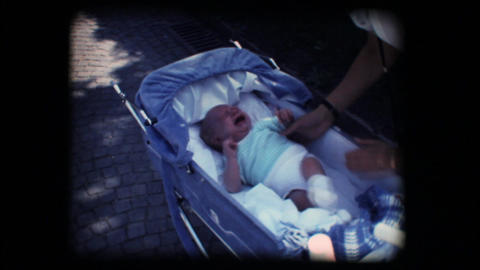 176 Vintage 8mm. Unhappy baby crying Stock Video Footage