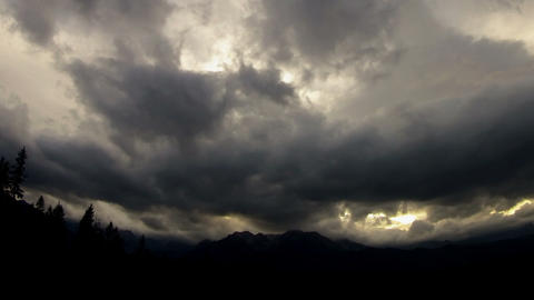 Dark clouds over the mountain Stock Video Footage