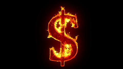 Burning dollar sign Stock Video Footage