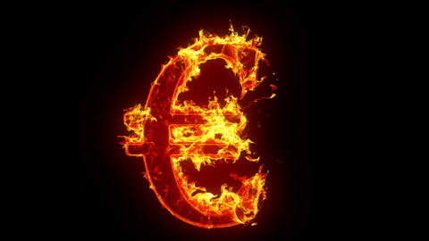 Burning Euro Sign stock footage