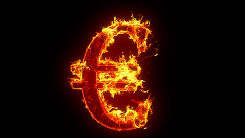 Burning euro sign Stock Video Footage