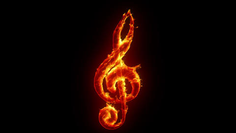 Burning treble clef Animation