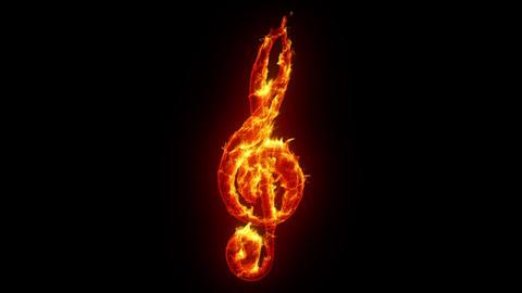 Burning treble clef Animation