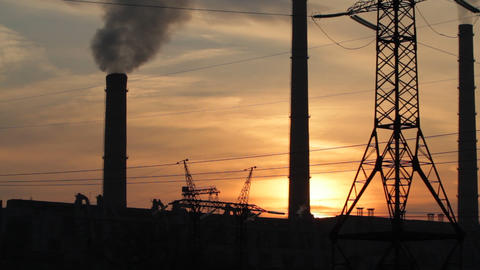 industrial sunset Footage