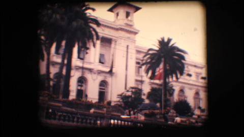Vintage 8mm. Old casino and palm trees Stock Video Footage