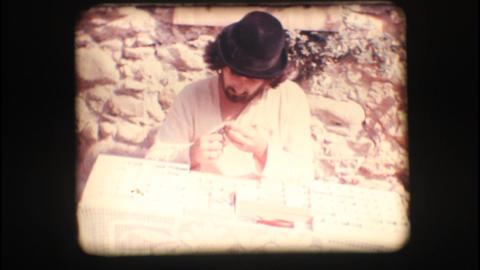Vintage 8mm. Artisan at work Stock Video Footage
