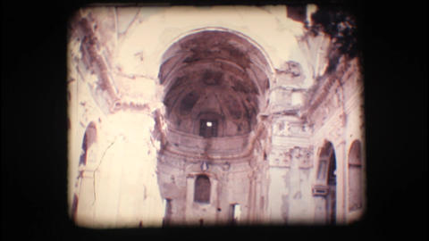 Vintage 8mm. Ruins of an old church Footage