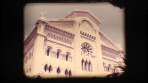 Vintage 8mm. Church in Monaco Footage