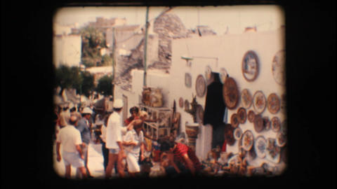Vintage 8mm. Souvenir shops in Alberobello Stock Video Footage