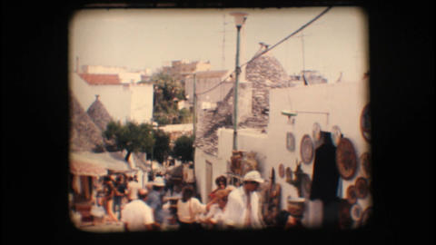 Vintage 8mm. Souvenir shops in Alberobello Footage