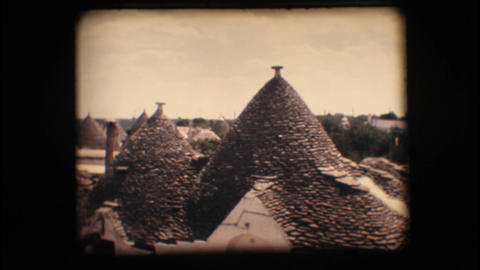 Vintage 8mm. Trulli in Alberobello Stock Video Footage