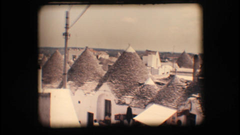 Vintage 8mm. Trulli in Alberobello Stock Video Footage