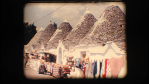 Vintage 8mm. Typical houses in Alberobello Footage