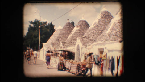 Vintage 8mm. Typical houses in Alberobello Stock Video Footage