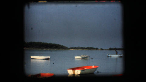 Vintage 8mm. Docked boats Stock Video Footage