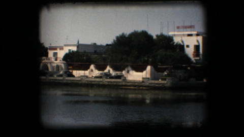 Vintage 8mm. Beach and seaside restaurant Live Action