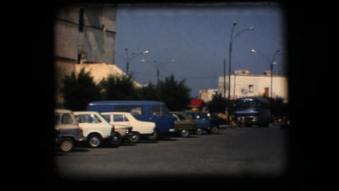 Vintage 8mm. View of downtown plaza Stock Video Footage