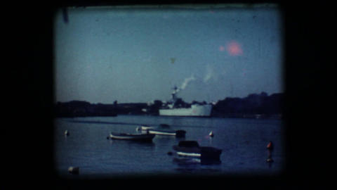 Vintage 8mm. Docked war ship Stock Video Footage