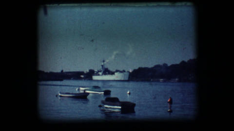 Vintage 8mm. Docked war ship Stock Video Footage
