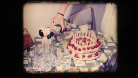 Vintage 8mm. Birthday cake and champagne Stock Video Footage