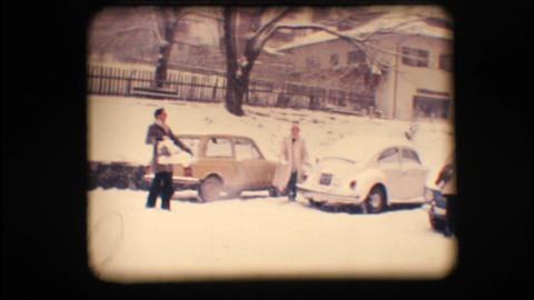 Vintage 8mm. Friends playing with snow Footage