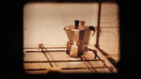 Vintage 8mm. Coffee pot Stock Video Footage