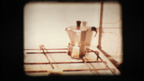 Vintage 8mm. Coffee pot Stock Video Footage