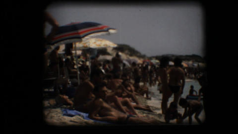 Vintage 8mm. Crowded beach Stock Video Footage