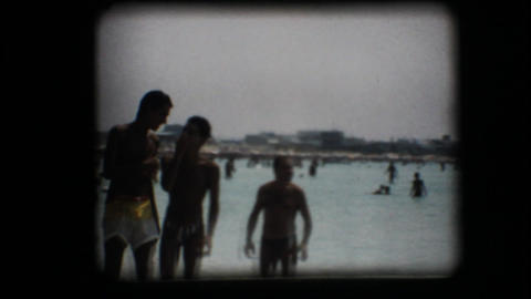 Vintage 8mm. Crowded beach Footage