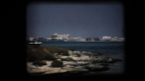 Vintage 8mm. Bay in the Mediterranean Stock Video Footage