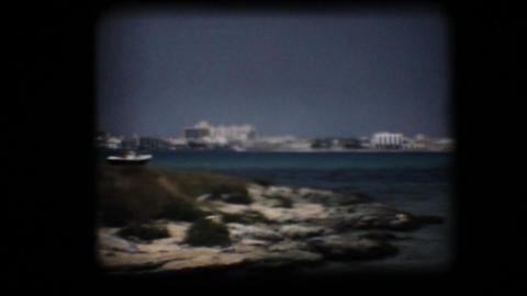 Vintage 8mm. Bay in the Mediterranean Stock Video Footage