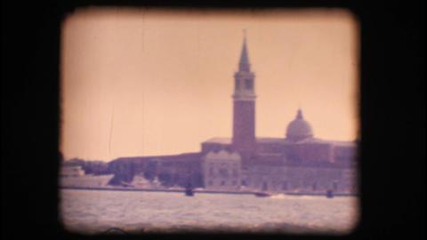 Vintage 8mm. Church of San Giorgio Maggiore, in Ve Stock Video Footage