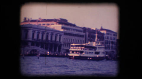 Vintage 8mm. Ferryboats docked in Venice Footage