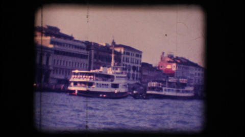 Vintage 8mm. Ferryboats docked in Venice Stock Video Footage