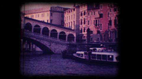 Vintage 8mm. Ferryboat in the Gran Canal Footage