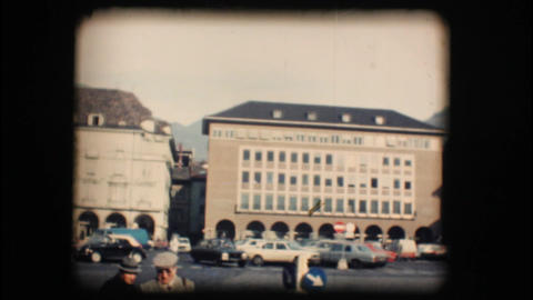 Vintage 8mm. Building with fresco wall painting Footage