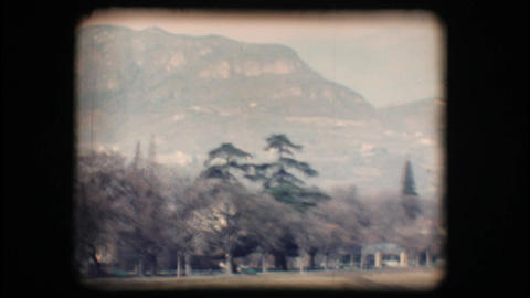 Vintage 8mm. Mountain and green countryside Stock Video Footage