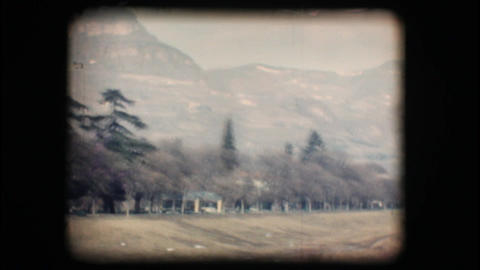 Vintage 8mm. Mountain and green countryside Footage