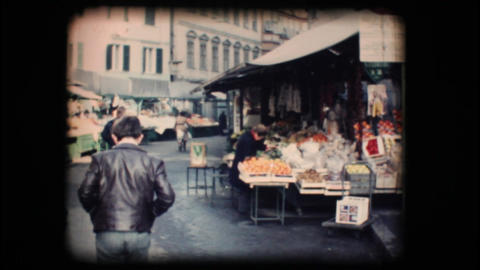 Vintage 8mm. Market in Bolzano Stock Video Footage